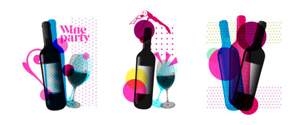 Idea for wine event. Illustration of bottle and wine glass with dotted pattern, retro 80s style, bright colors, pop art. For brochures, posters, invitations or banners. Idea for wine event. Illustration of bottle and wine glass with dotted pattern, retro 80s style, bright colors, pop art. For brochures, posters, invitations or banners. Vector. alcohol drink backgrounds stock illustrations
