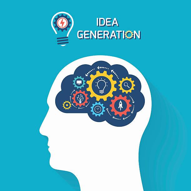 Generación de ideas y concepto del negocio de arranque - ilustración de arte vectorial