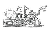 Hand-drawn vector drawing of an Idea Generator Machine. Black-and-White sketch on a transparent background (.eps-file). Included files are EPS (v10) and Hi-Res JPG.