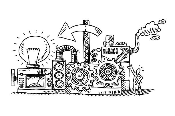 Idea Generator Machine Drawing Hand-drawn vector drawing of an Idea Generator Machine. Black-and-White sketch on a transparent background (.eps-file). Included files are EPS (v10) and Hi-Res JPG. business stock illustrations