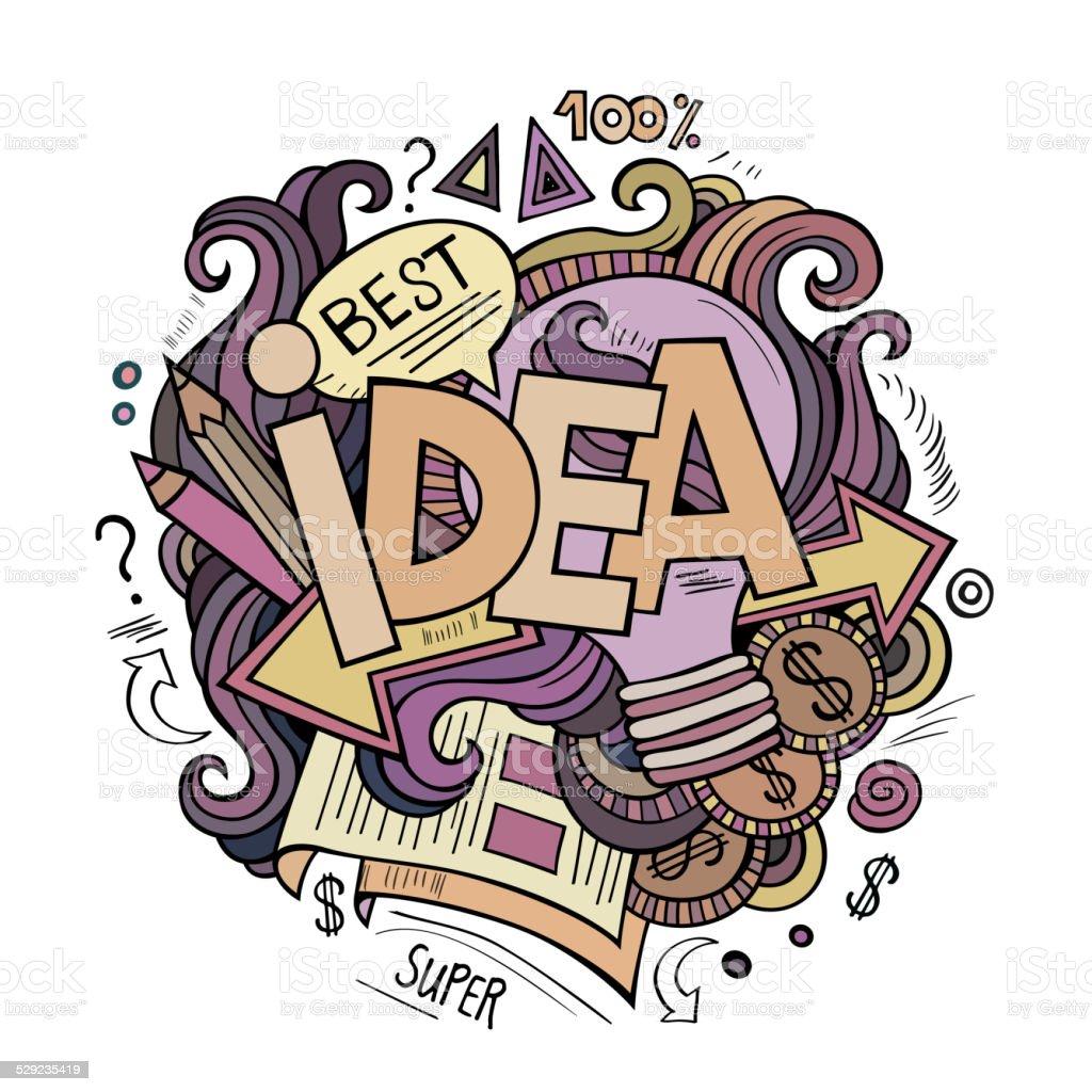アイデアスケッチイラスト手の文字および背景の要素 - いたずら書きの