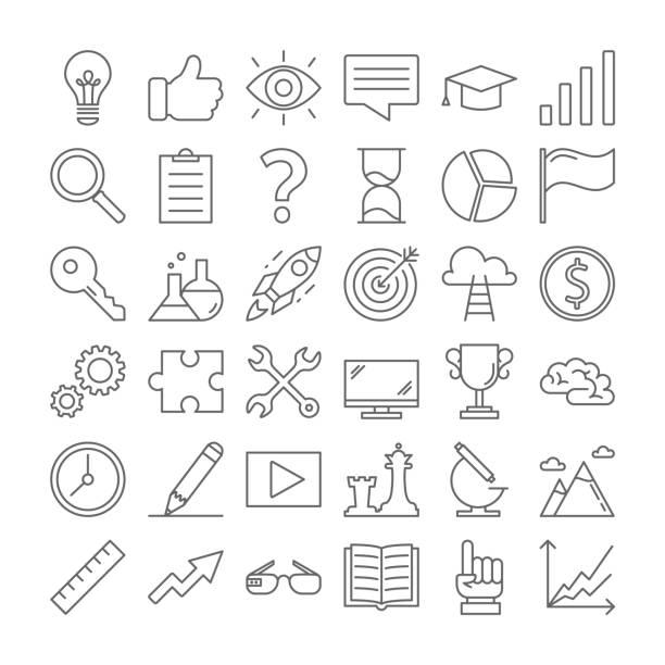idee-symbole auf weiß gesetzt. - storytelling grafiken stock-grafiken, -clipart, -cartoons und -symbole