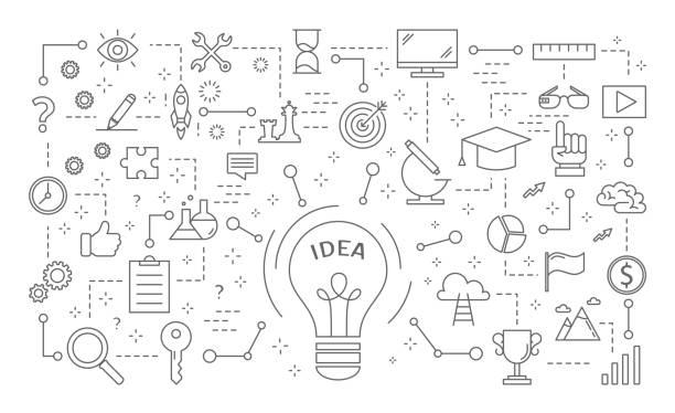 idee-symbole festgelegt. - storytelling grafiken stock-grafiken, -clipart, -cartoons und -symbole