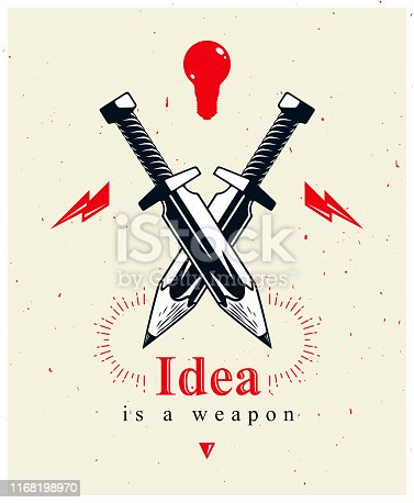 Idea is a weapon concept, weapon of a designer or artist allegory shown as two crossed swords with pencils instead of blades, creative power, vector icon.