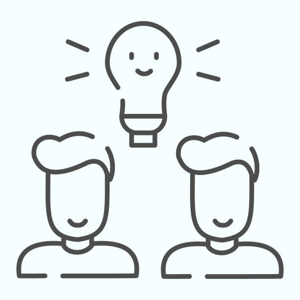 bildbanksillustrationer, clip art samt tecknat material och ikoner med idé lampa tunna linje ikon. glödlampan och två personer vektor illustration isolerad på vitt. kreativa idéer glödlampa kontur stil design, designad för webben och app. eps 10. - endast en man