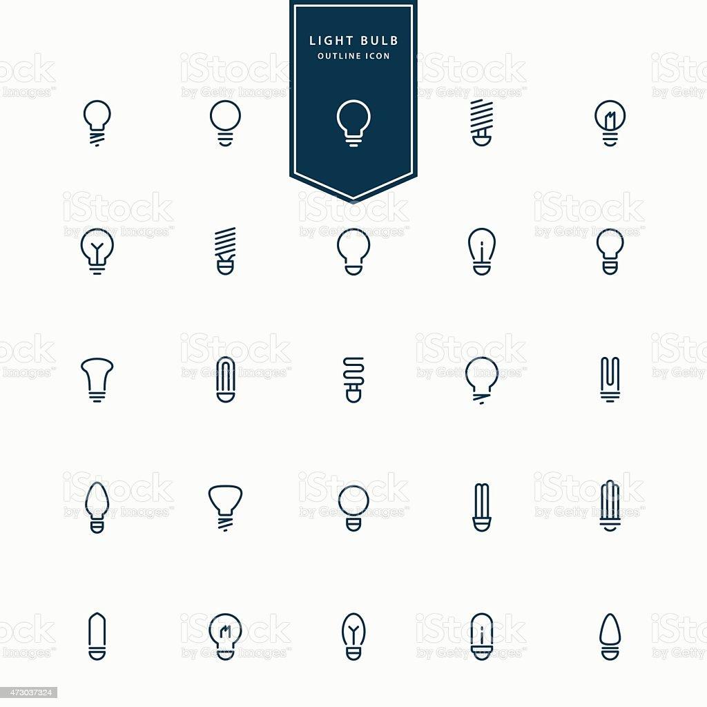 25 idea light bulb minimal line icons vector art illustration