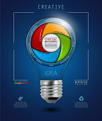 Idea Light Bulb with Infographics in Camera Aperture Style