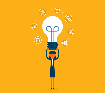 Idea - lightbulb - Businesswoman