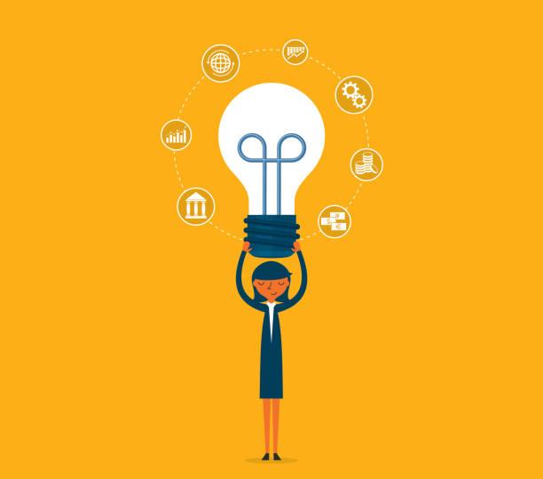 ilustrações, clipart, desenhos animados e ícones de ideia - lâmpada - empresária - entrepreneurship