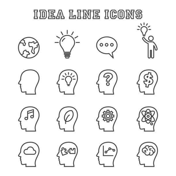 idee linie icons - kopfleuchten stock-grafiken, -clipart, -cartoons und -symbole