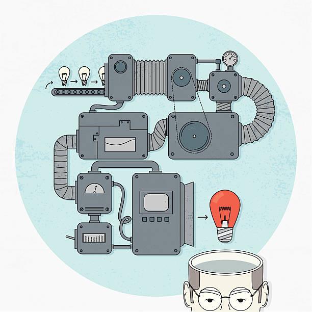 ilustrações, clipart, desenhos animados e ícones de ideia maker - mecânico