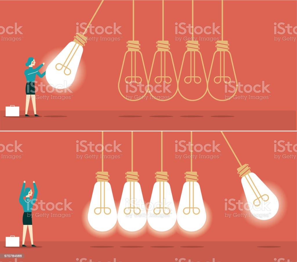 Idea newton cradle - Businesswoman vector art illustration