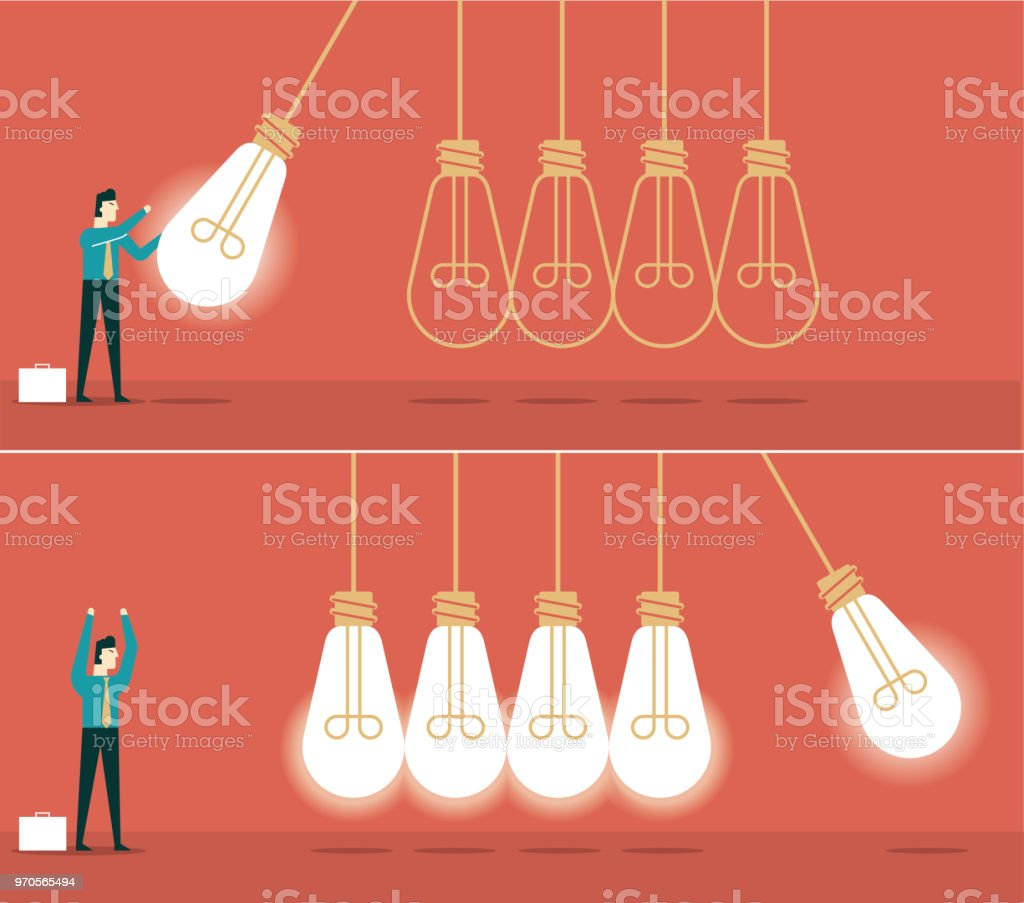 Idea newton cradle vector art illustration