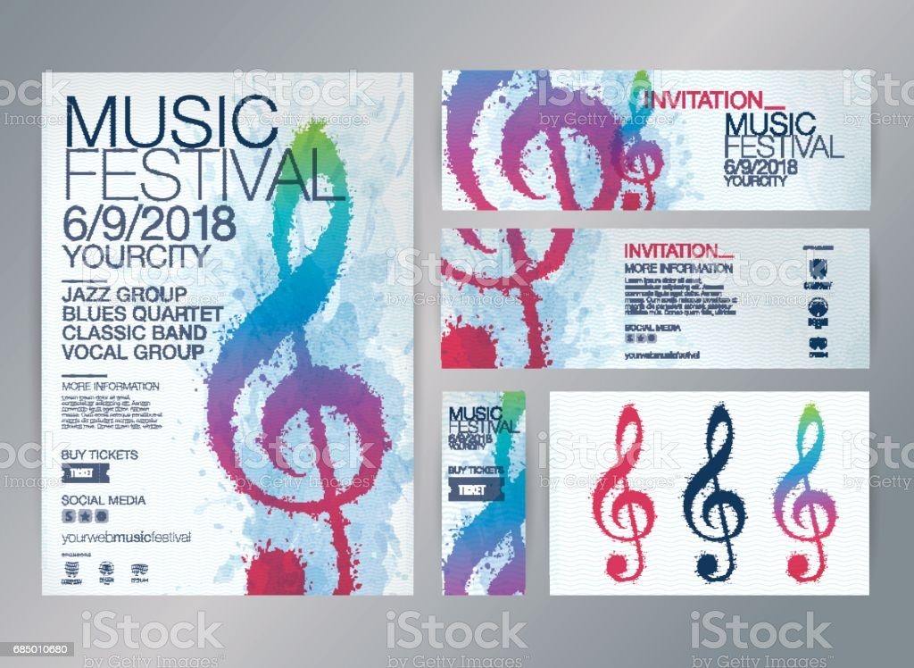 Idea of designs for music events. vector art illustration