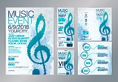 Set of templates with poster, tickets or web banners for music event. Treble clef illustration with brush strokes. Texture watercolor effect. Vector.