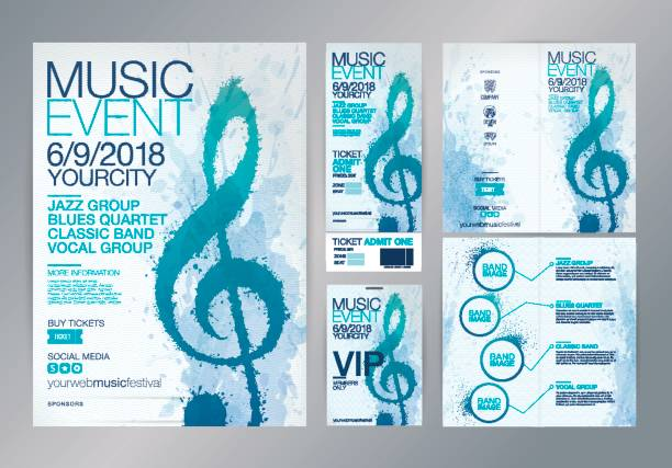 idea of designs for music events. - muzyka poważna stock illustrations