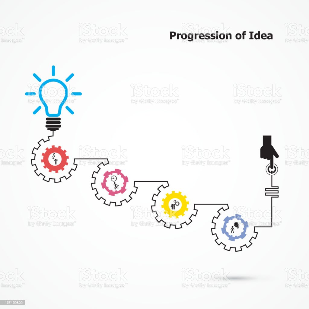 idea progression template with gears and small illustrations stock