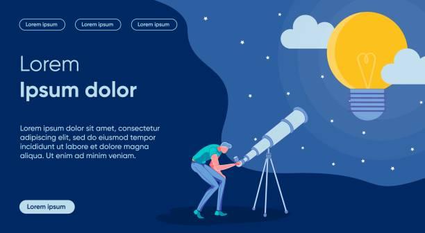 bildbanksillustrationer, clip art samt tecknat material och ikoner med mall för platt målsida smittats för idéforskning - hemsida uppgiven