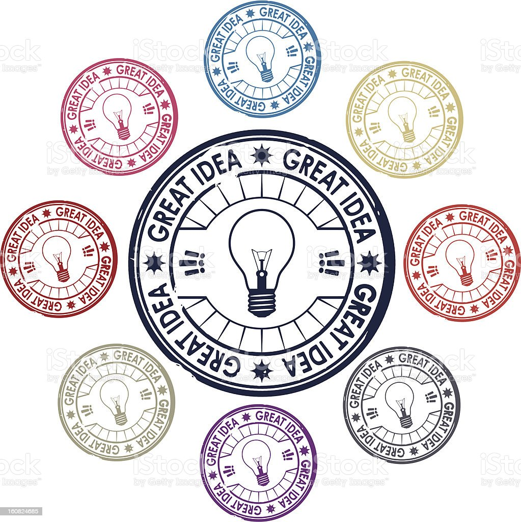 idea, set of stamps royalty-free stock vector art