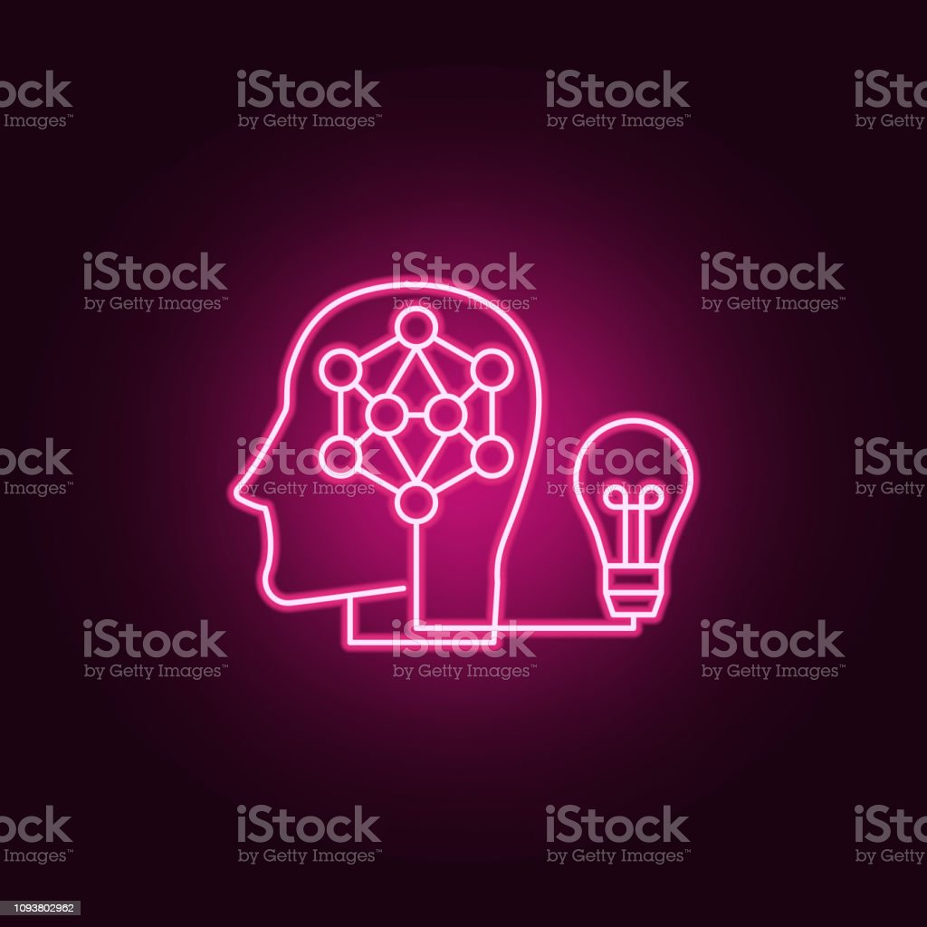 idea smart human brain icon. Elements of artifical in neon style icons. Simple icon for websites, web design, mobile app, info graphics vector art illustration