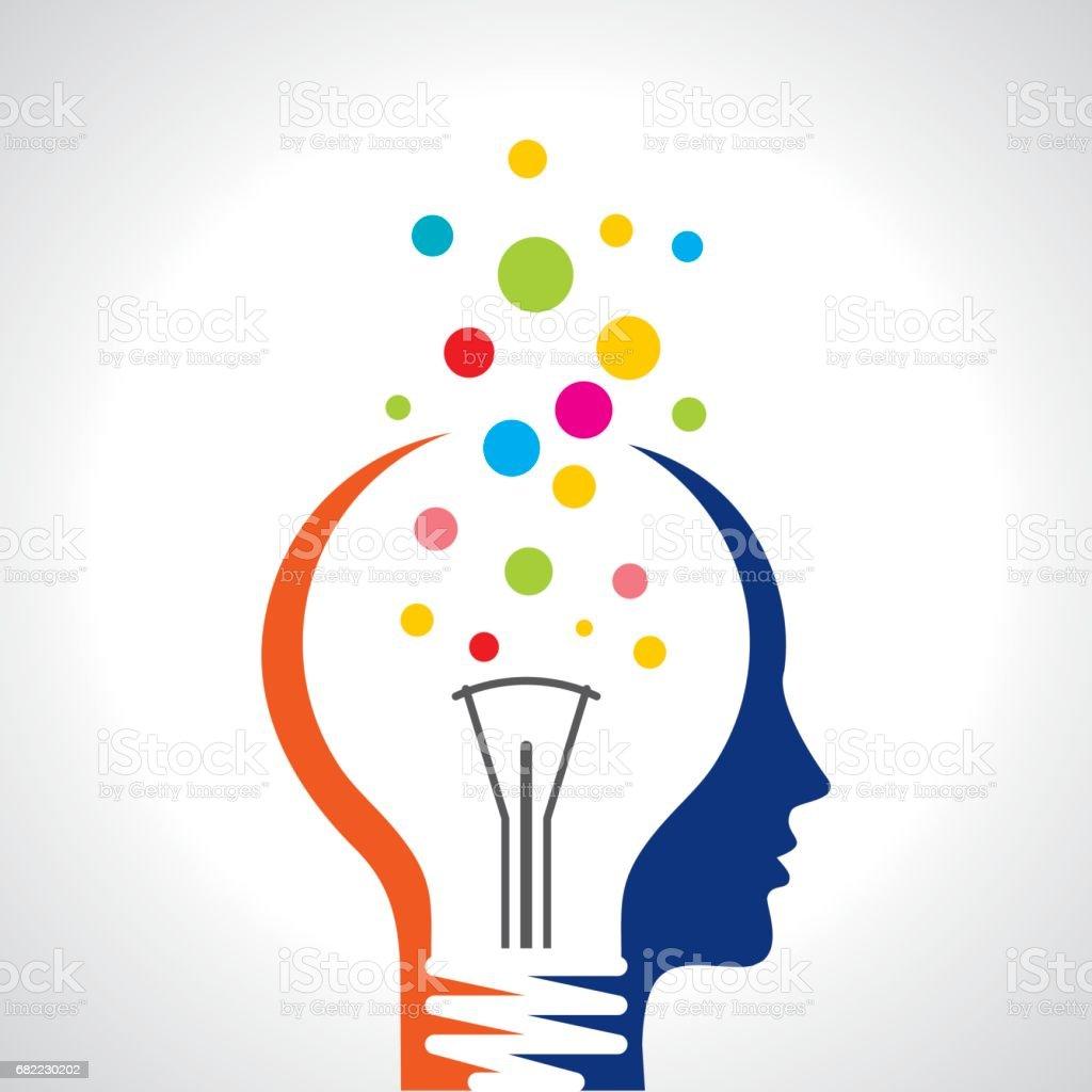 tête de homme humain idée solution ampoule cerveau art illustration concept - Illustration vectorielle