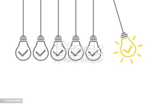To remind the importance of innovation in the business world. Businessman holds in his hand a light bulb. New idea in human palm. To be ordinary or different. Innovation brings success. Innovation concepts on blackboard background. Idea Solution Concepts with Light Bulb on White Background.