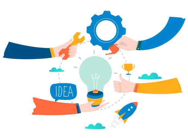 Idea, thinking, content development, brainstorming vector art illustration