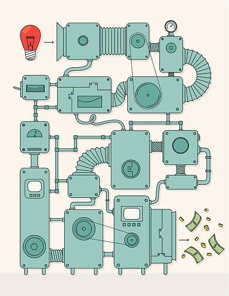 idea to money converter - machine stock illustrations, clip art, cartoons, & icons