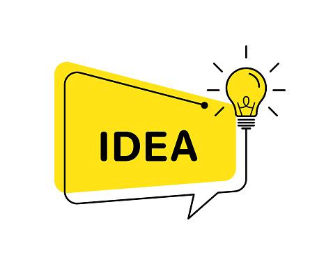 Idea vector banner light bulb and speech bubble. Vector isolated illustration. Idea concept illustration. Creative idea vector design. Lamp idea design.