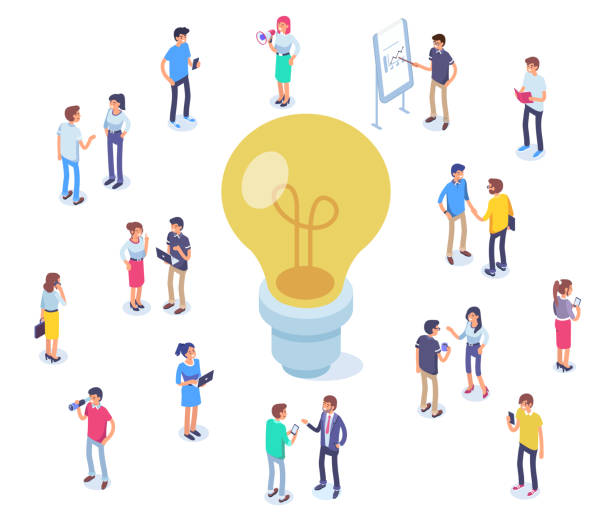 idea Idea concept image with characters. Can use for web banners, infographics, hero images. Flat isometric vector illustration isolated on white background. insights illustrations stock illustrations