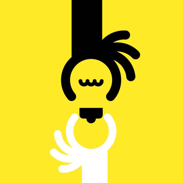 stockillustraties, clipart, cartoons en iconen met idee met menselijke handen - uitvinding