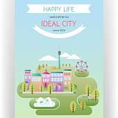Abstract idyllic landscape with colorful houses and town park. Flat design style. Banners and space for custom text. Vector illustration.