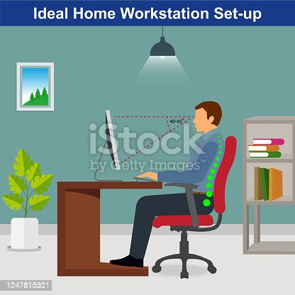 Ideal ergonomics work from home setup, man working