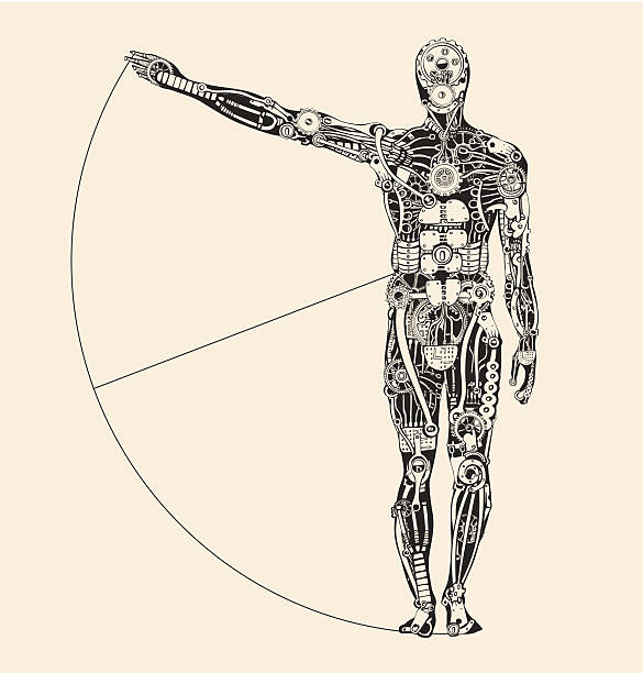 ideal human proportion that governs the universe. making of humans. - machine stock illustrations, clip art, cartoons, & icons