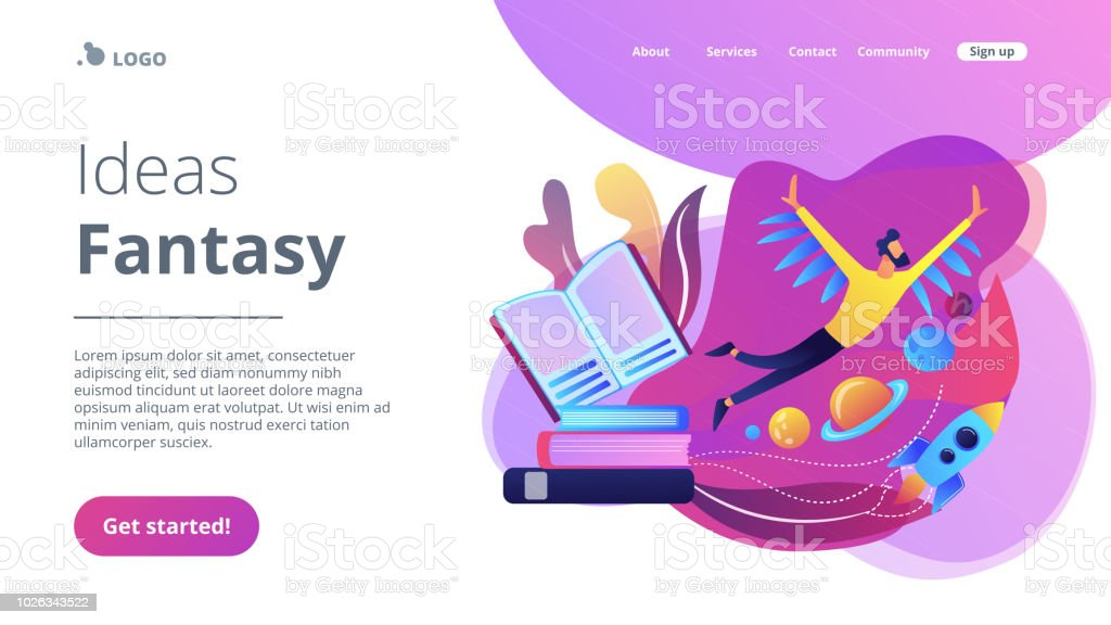 Ideas and fantasy concept landing page vector art illustration