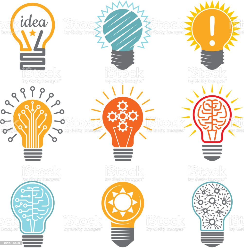 Ideas Bulb Symbols Creative Tech Innovation Electrical Icon For Business Logotype Vector Colorful Various Template