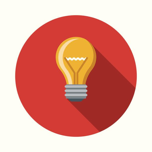 아이디어 측면 그림자와 평면 디자인 비즈니스 아이콘 - 전구 stock illustrations