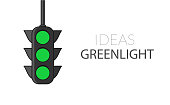 Poster with motivational text. Ideas greenlight. Traffic light background