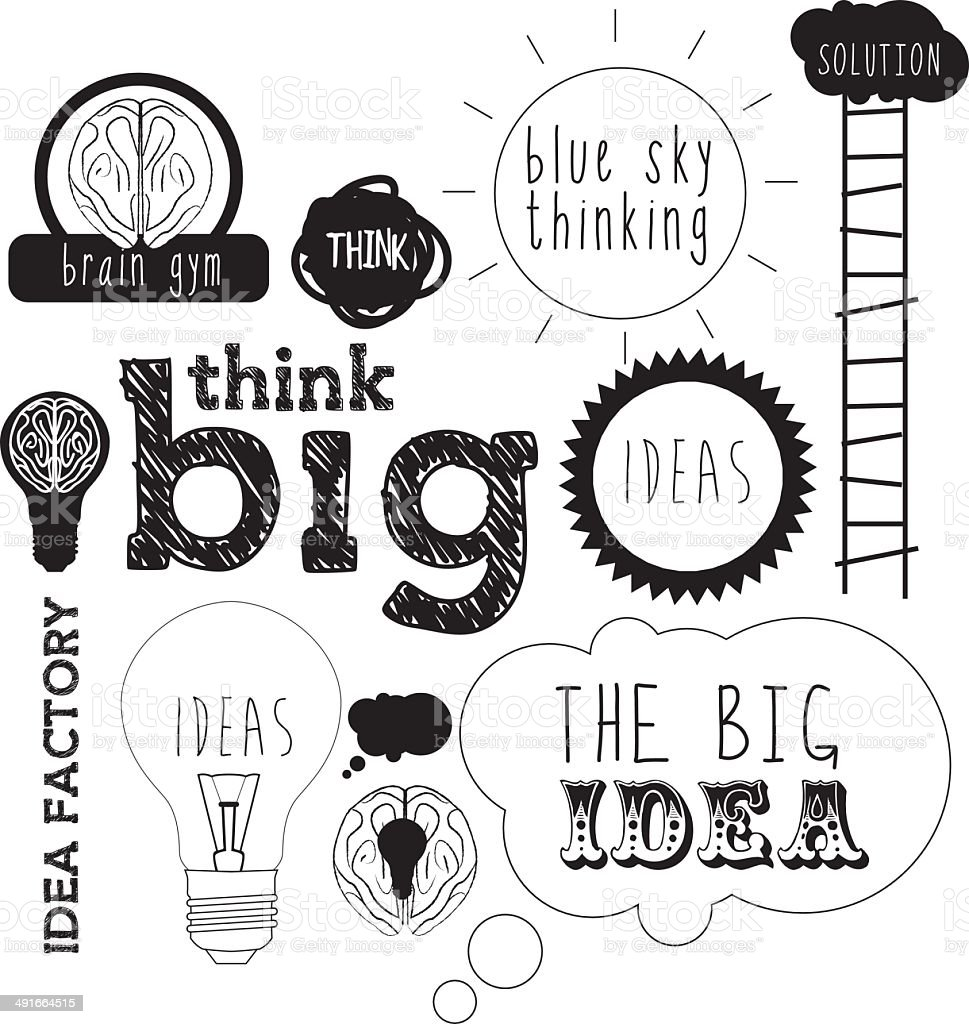 ideas handdrawn or lettering for idea and innovation concepts vector art illustration