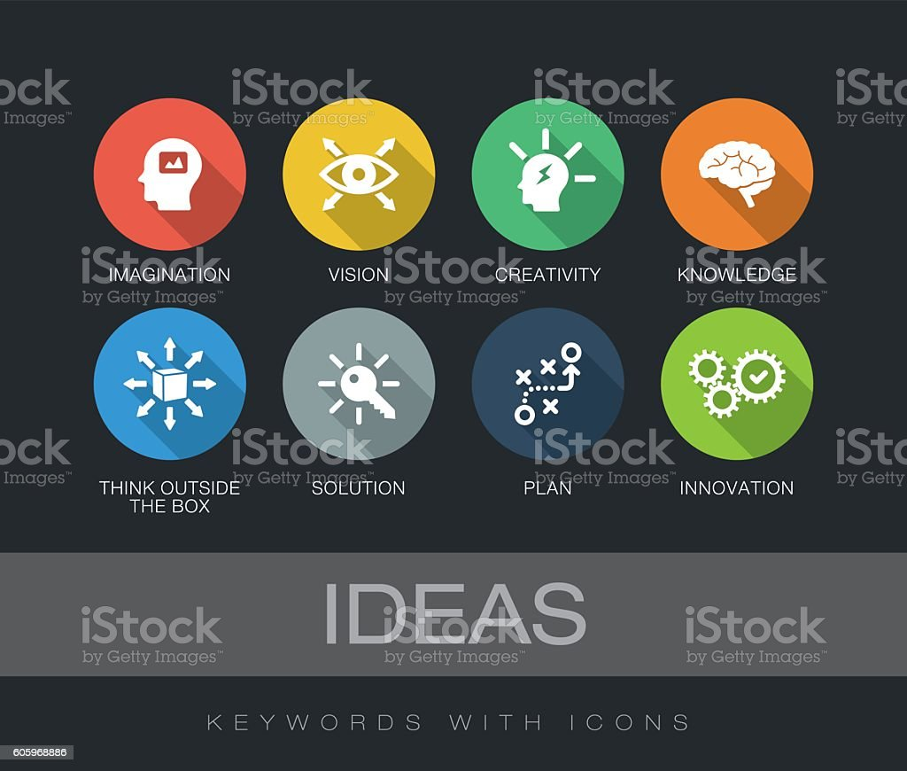 Ideas keywords with icons vector art illustration