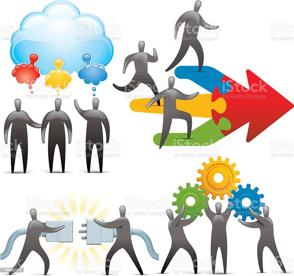 Ideas, teamwork, activation, industry royalty-free stock vector art