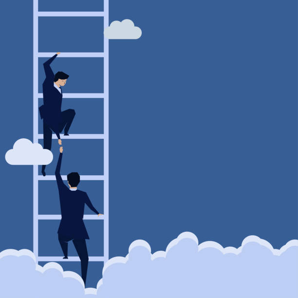 Ideas-43 Businessman lend a hand help the other to climb up the ladder. one man only stock illustrations