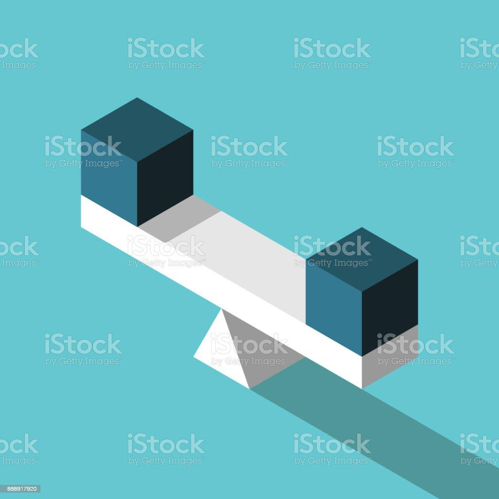 Cubos idênticos na escala - ilustração de arte em vetor