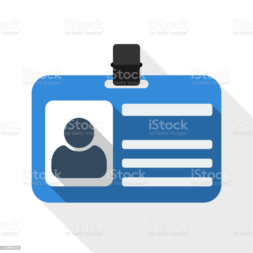 Identification card flat icon with long shadow vector art illustration