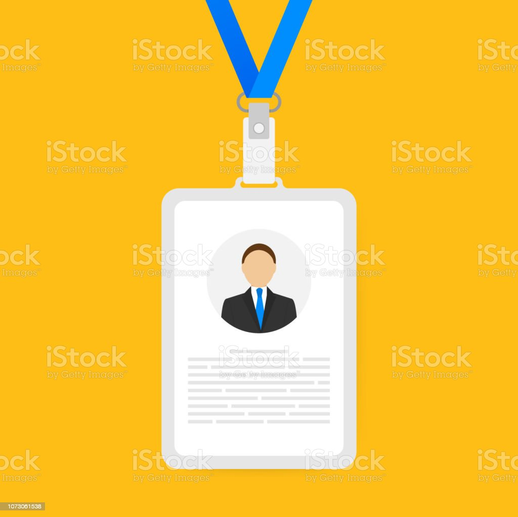 Identification card for man. Trendy flat lanyard, name tag holder template on yellow background - Royalty-free Accessibility stock vector
