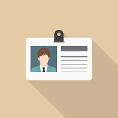 Identification card icon with long shadow, flat design style