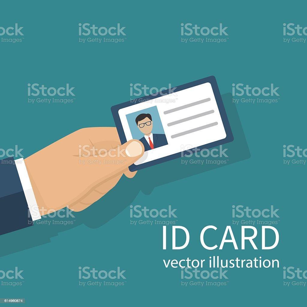 Identification card in hand - ilustración de arte vectorial
