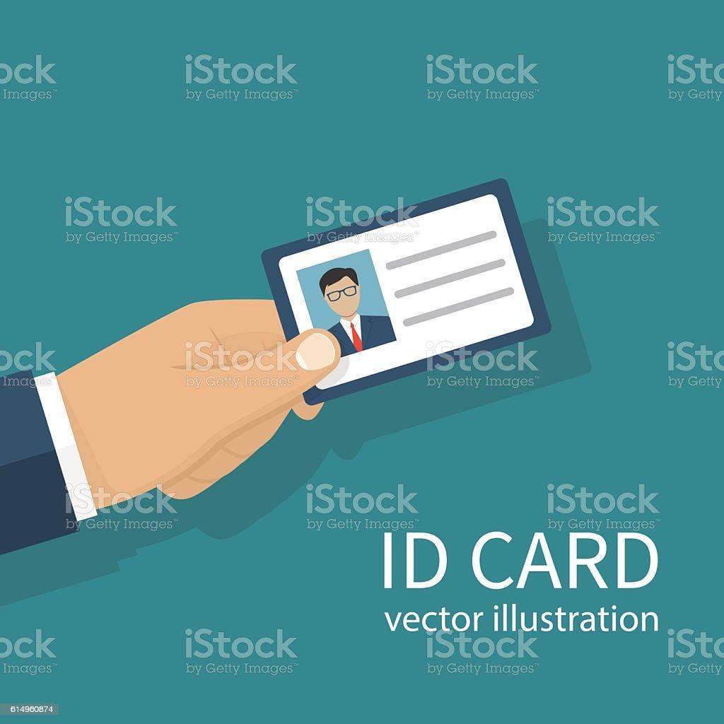 Identification card in hand vector art illustration