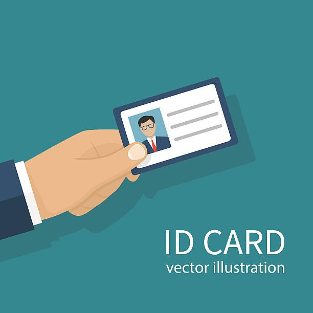 ilustraciones, imágenes clip art, dibujos animados e iconos de stock de identification card in hand - carne