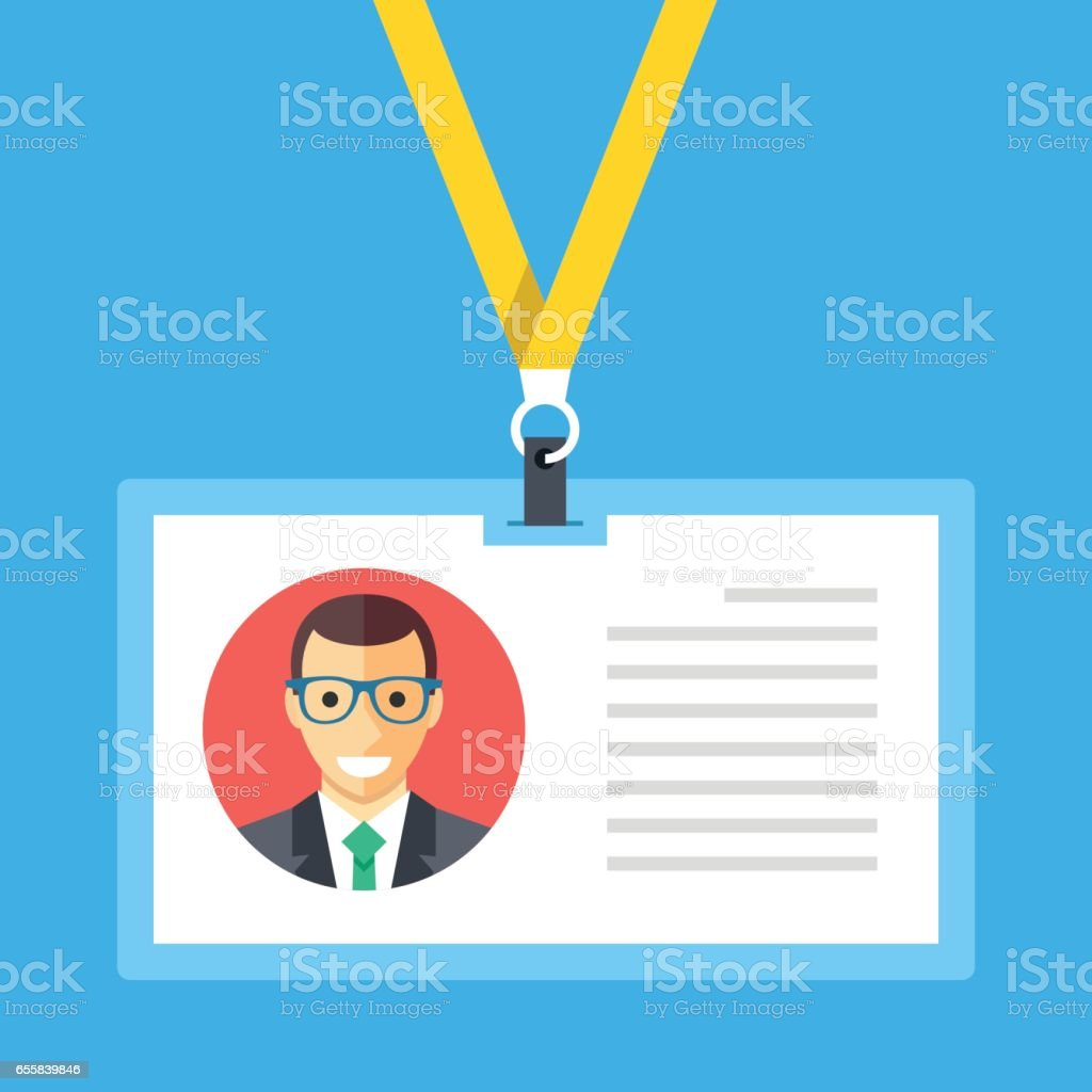 Identification card, lanyard, badge, id card concepts. Modern flat design graphic elements. Vector illustration vector art illustration